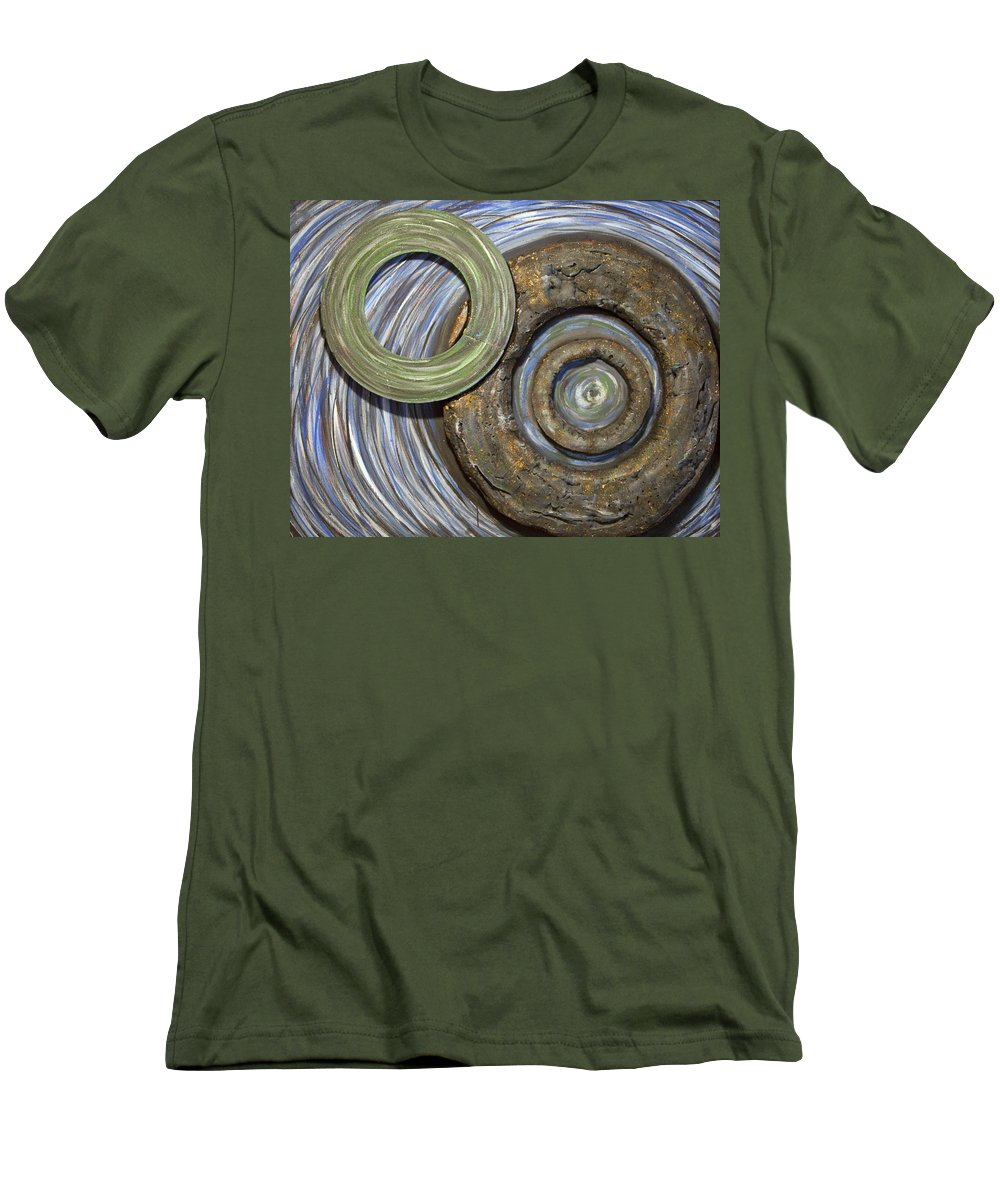 Circles Men's T-Shirt (Athletic Fit) featuring the painting Threes A Crowd by Jacqueline Athmann