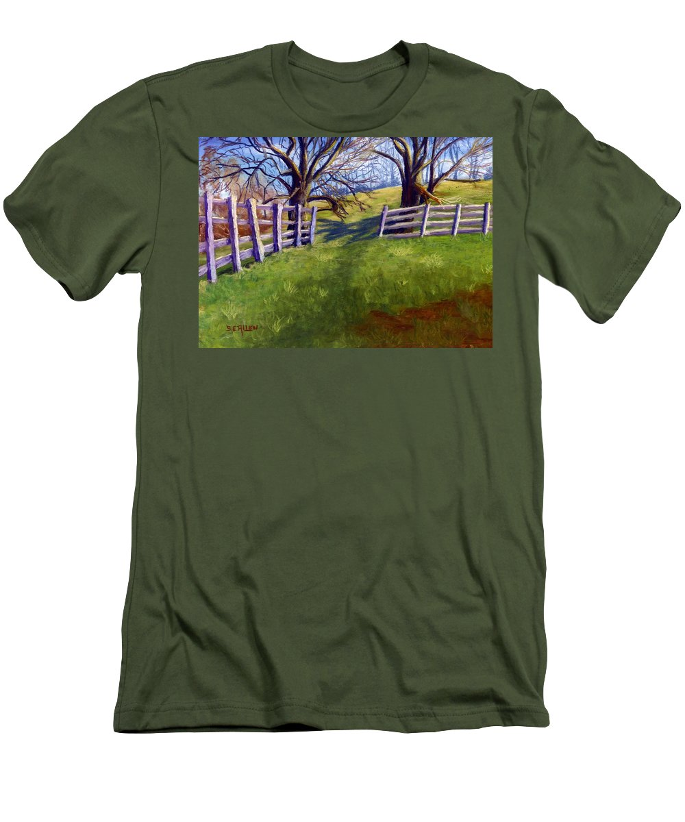 Pasture Men's T-Shirt (Athletic Fit) featuring the painting Throught The Pasture Gate by Sharon E Allen