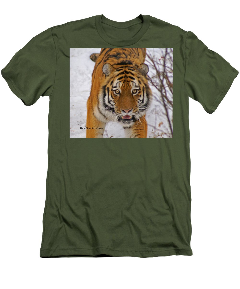 Tiger Men's T-Shirt (Athletic Fit) featuring the photograph Tiger by Heather Coen