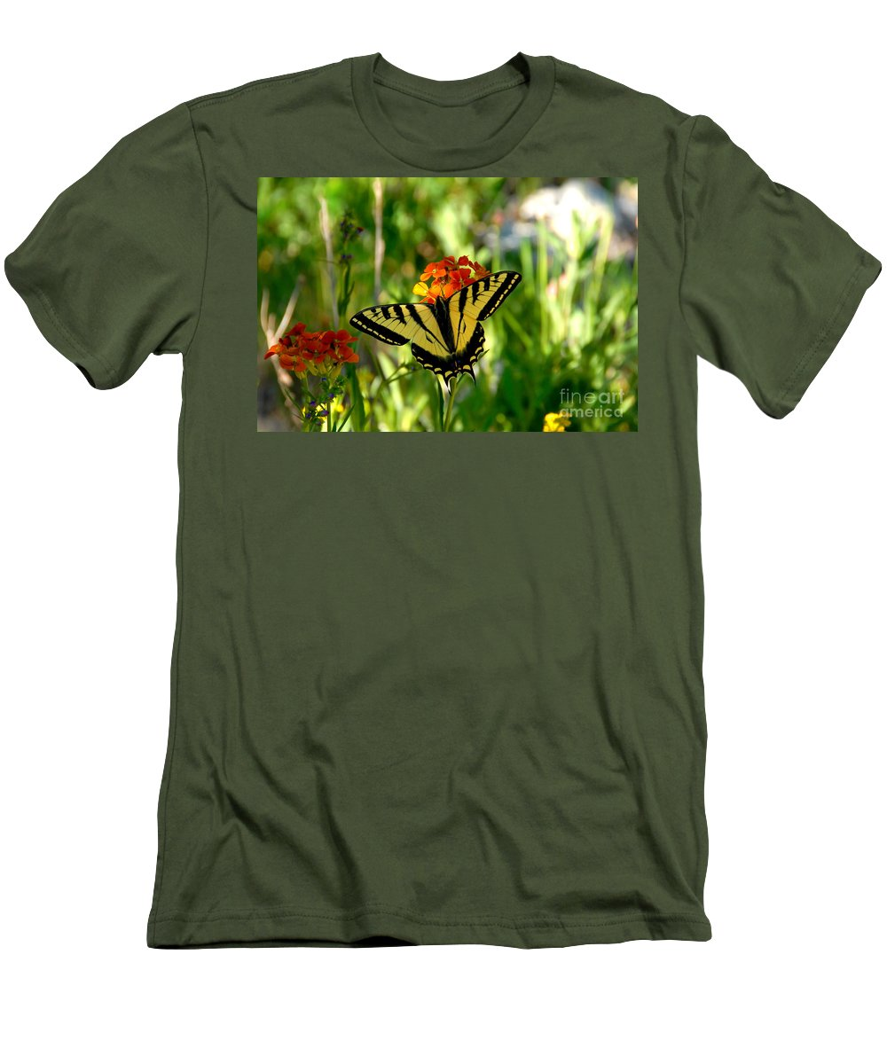 Tiger Tail Butterfly Men's T-Shirt (Athletic Fit) featuring the photograph Tiger Tail Beauty by David Lee Thompson