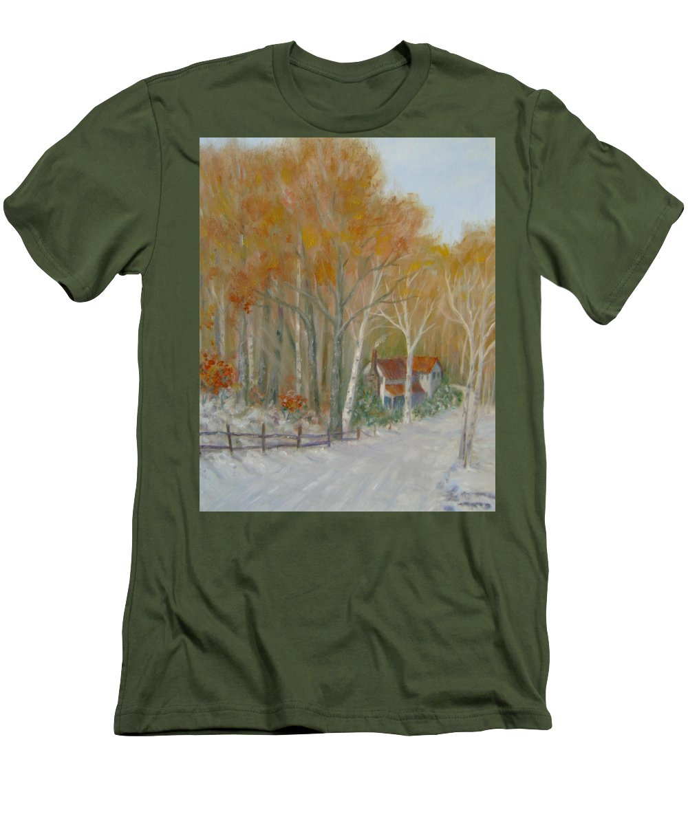 Country Road; House; Snow Men's T-Shirt (Athletic Fit) featuring the painting To Grandma's House by Ben Kiger