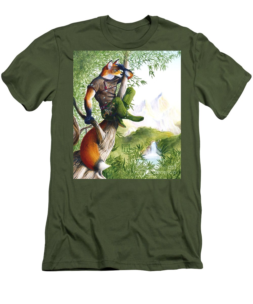 Fantasy Men's T-Shirt (Athletic Fit) featuring the painting Trail Blazing Fox by Melissa A Benson