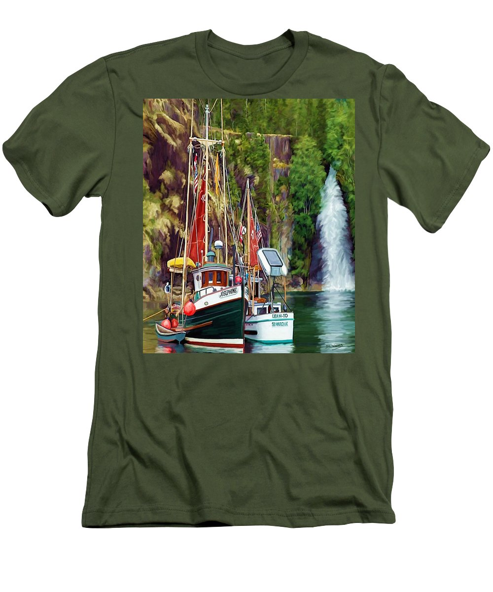 Boats Men's T-Shirt (Athletic Fit) featuring the painting Tranquility by David Wagner