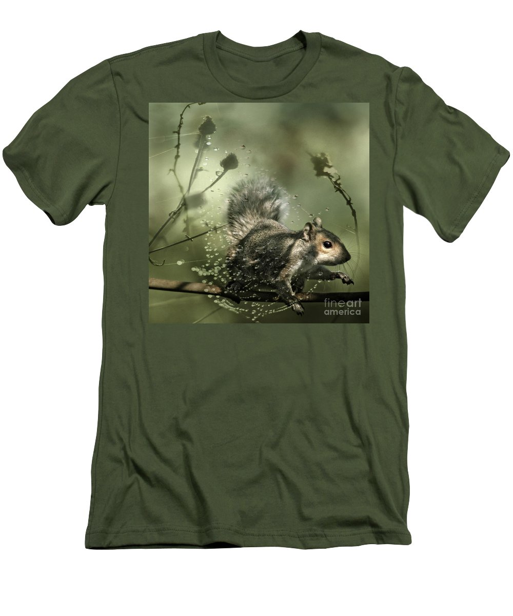 Cobweb Men's T-Shirt (Athletic Fit) featuring the photograph Trapped by Angel Ciesniarska