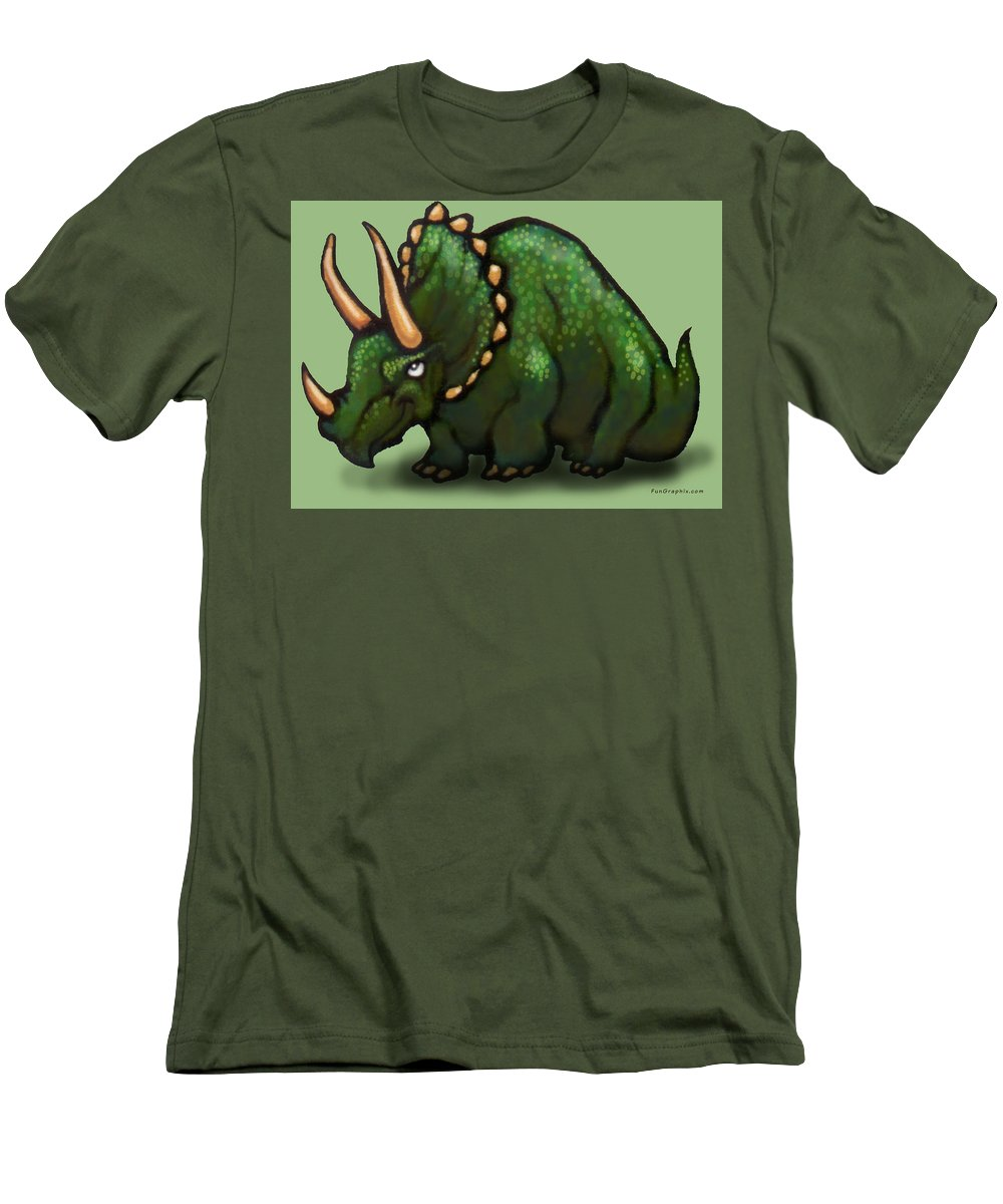 Triceratops Men's T-Shirt (Athletic Fit) featuring the greeting card Triceratops by Kevin Middleton