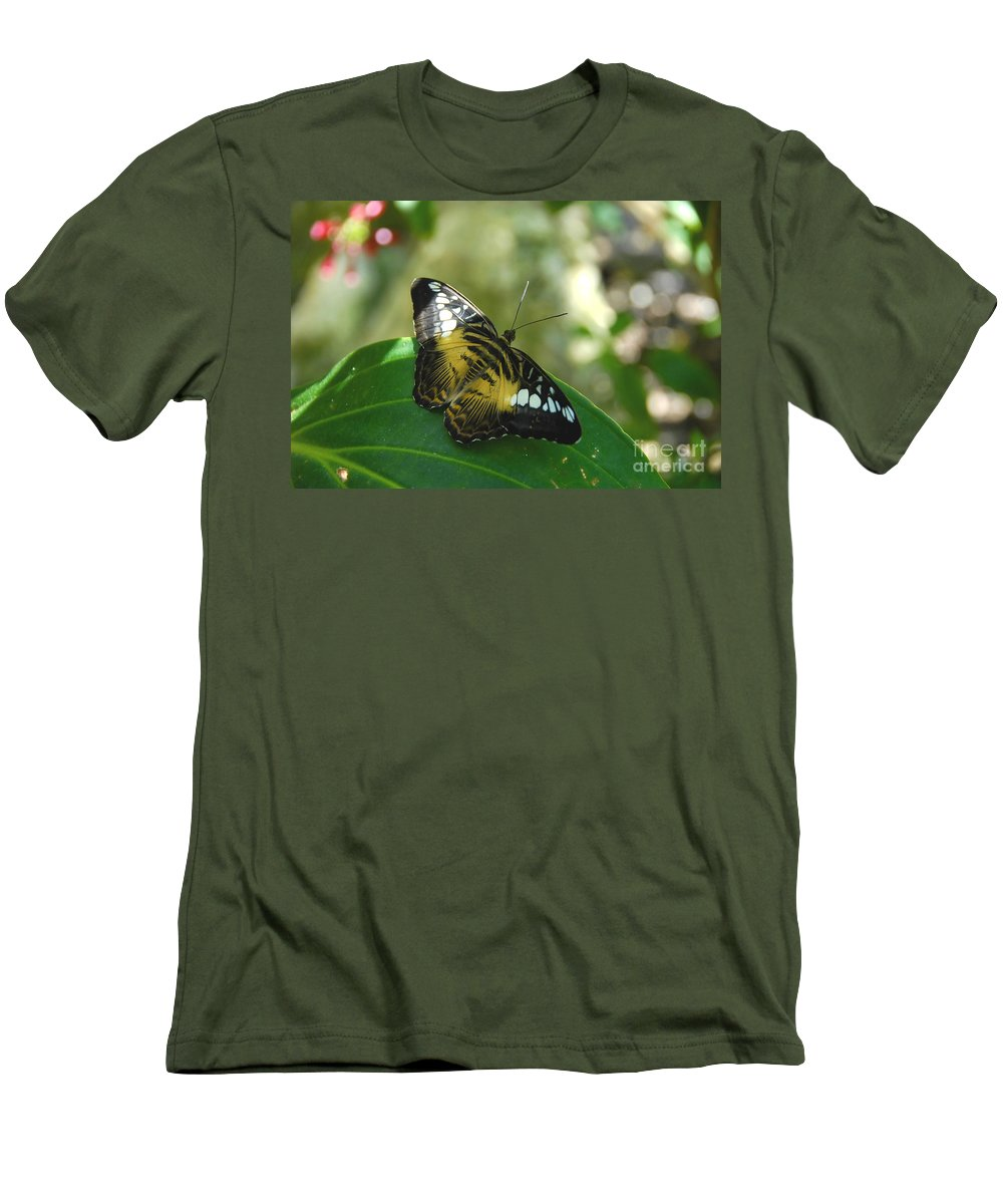 Butterfly Men's T-Shirt (Athletic Fit) featuring the photograph Tropical Garden Beauty by David Lee Thompson