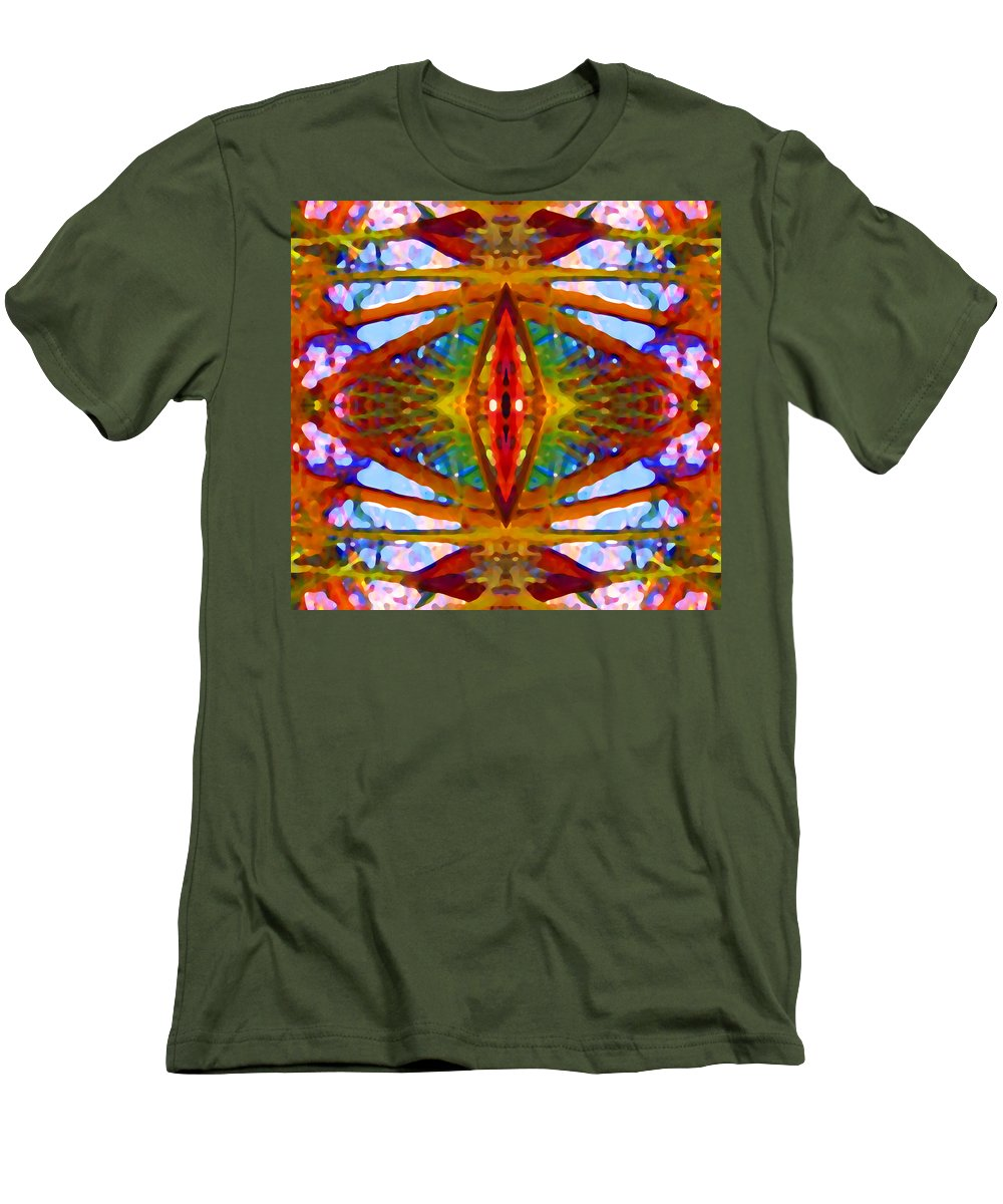 Abstract Men's T-Shirt (Athletic Fit) featuring the painting Tropical Stained Glass by Amy Vangsgard