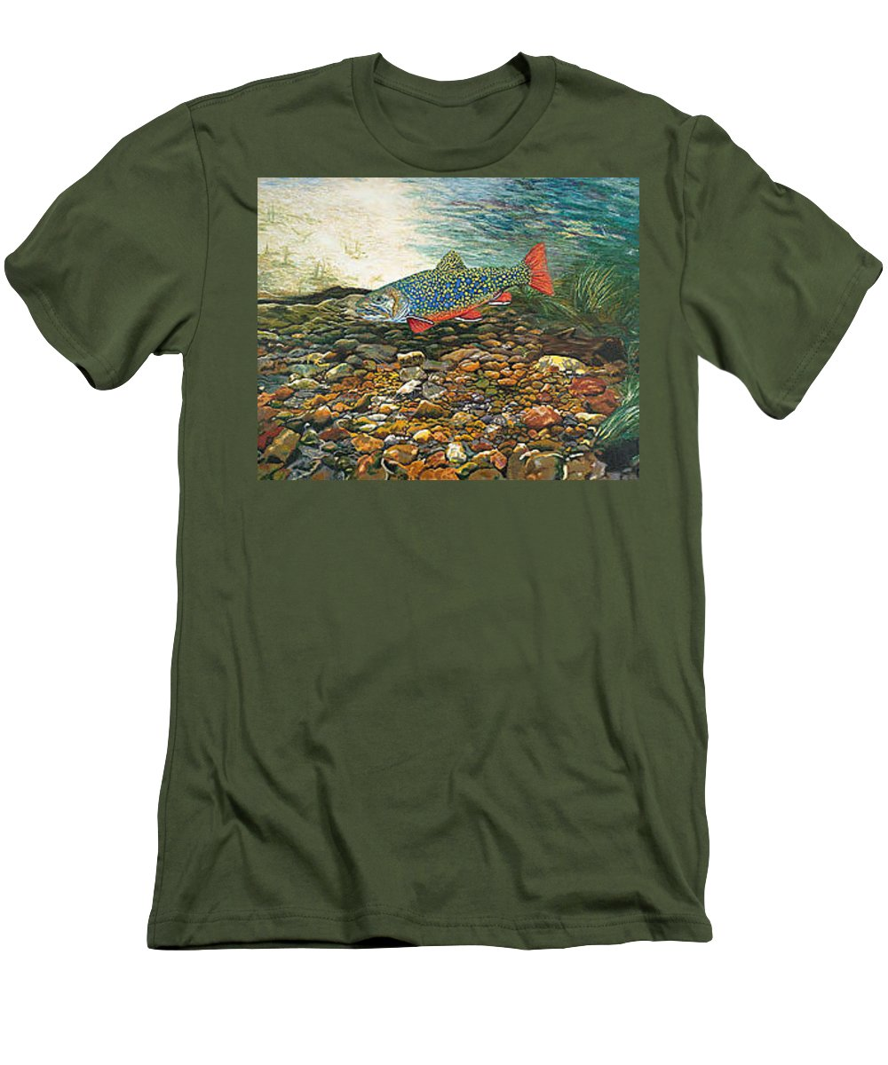 Art Men's T-Shirt (Athletic Fit) featuring the painting Trout Art Fish Art Brook Trout Suspended Artwork Giclee Fine Art Print by Baslee Troutman