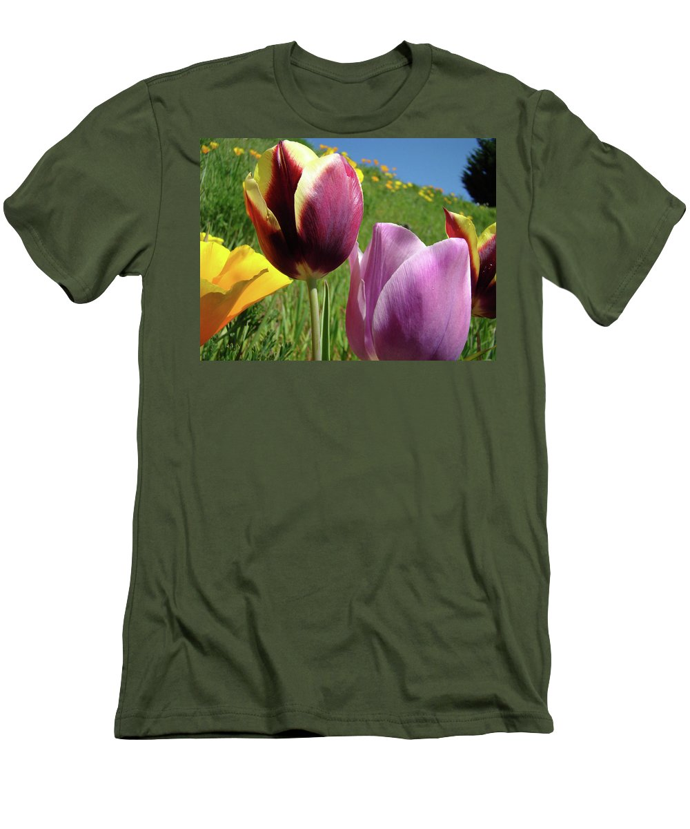 �tulips Artwork� Men's T-Shirt (Athletic Fit) featuring the photograph Tulips Artwork Tulip Flowers Spring Meadow Nature Art Prints by Baslee Troutman