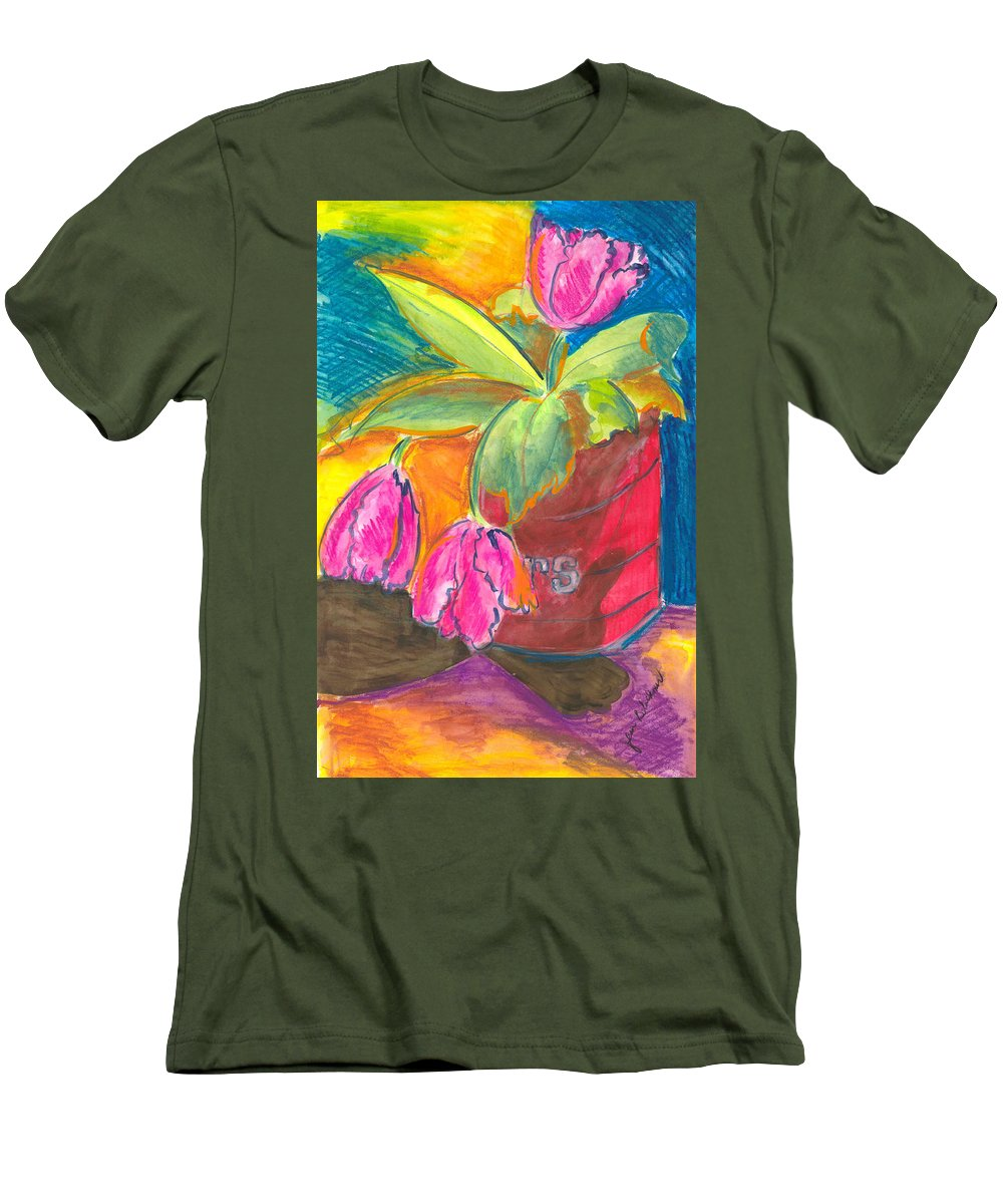Flowers Men's T-Shirt (Athletic Fit) featuring the painting Tulips In Can by Jean Blackmer