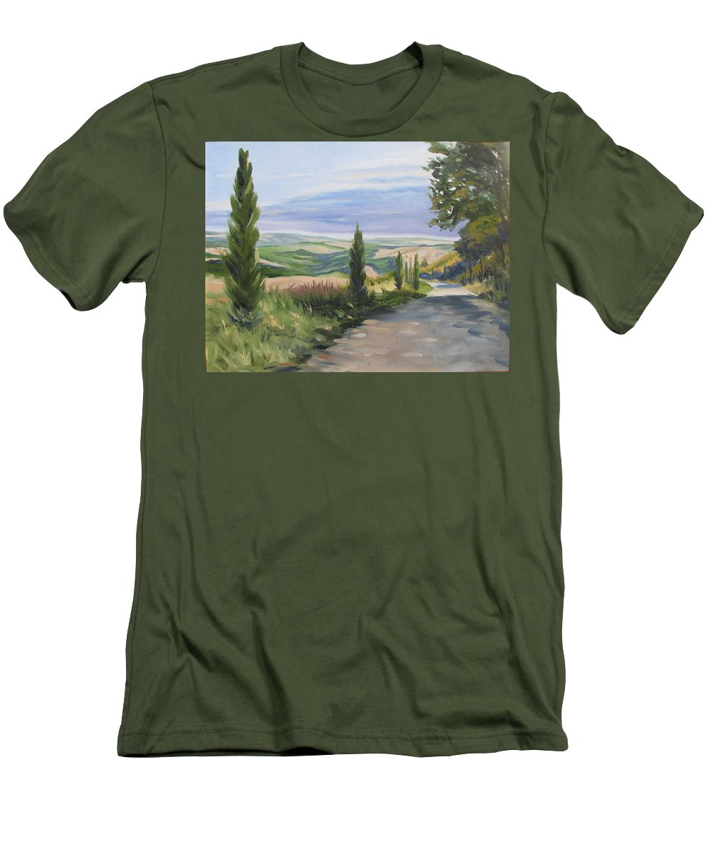 Landscape Men's T-Shirt (Athletic Fit) featuring the painting Tuscan Walk by Jay Johnson