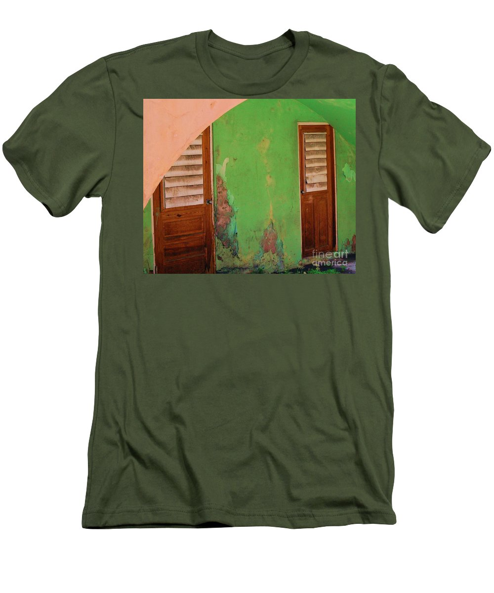 Doors Men's T-Shirt (Athletic Fit) featuring the photograph Twin Doors by Debbi Granruth