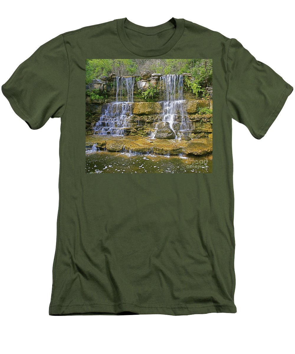Waterfalls Men's T-Shirt (Athletic Fit) featuring the photograph Twin Falls by Robert Pearson