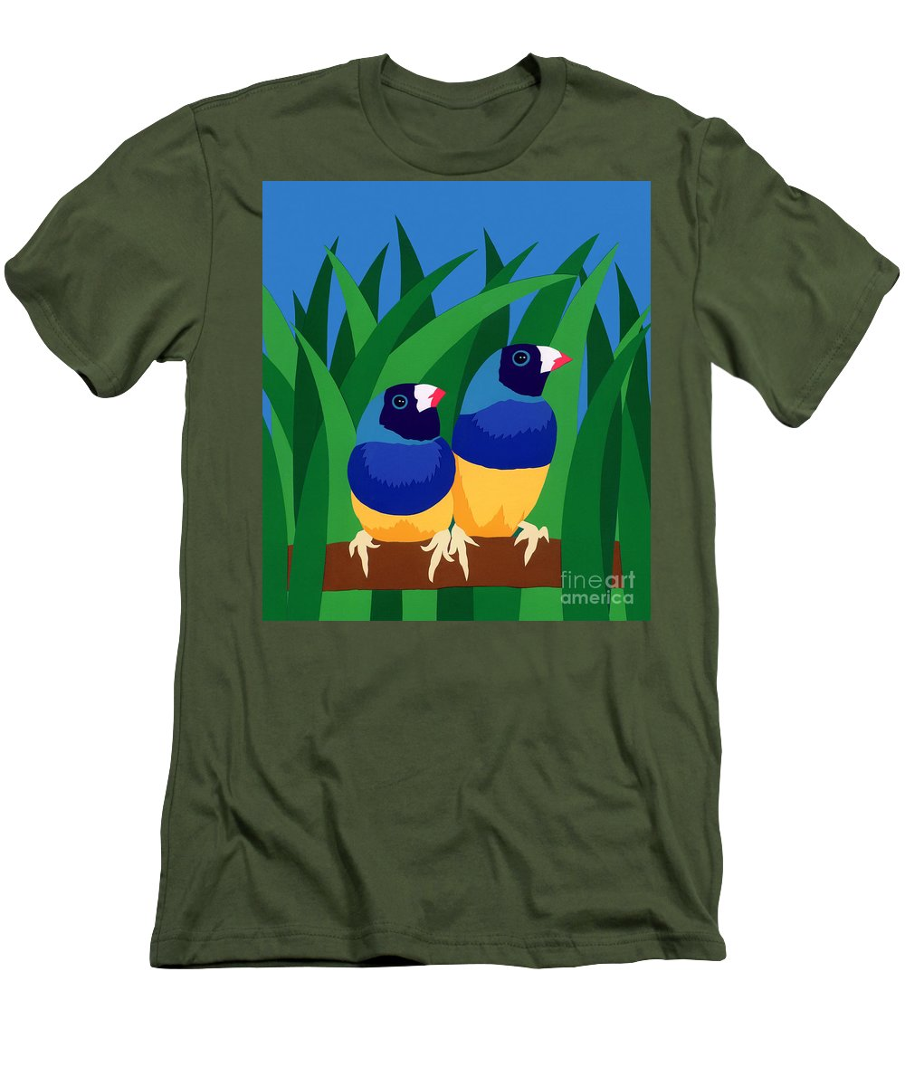 Nature Men's T-Shirt (Athletic Fit) featuring the drawing Two Birds Sharing A Branch by Lucyna A M Green