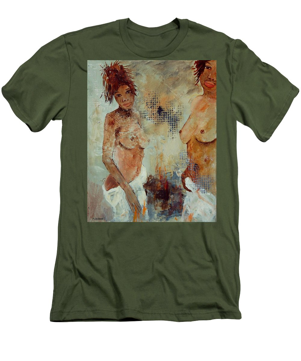 Girl Nude Men's T-Shirt (Athletic Fit) featuring the painting Two Black Sisters by Pol Ledent