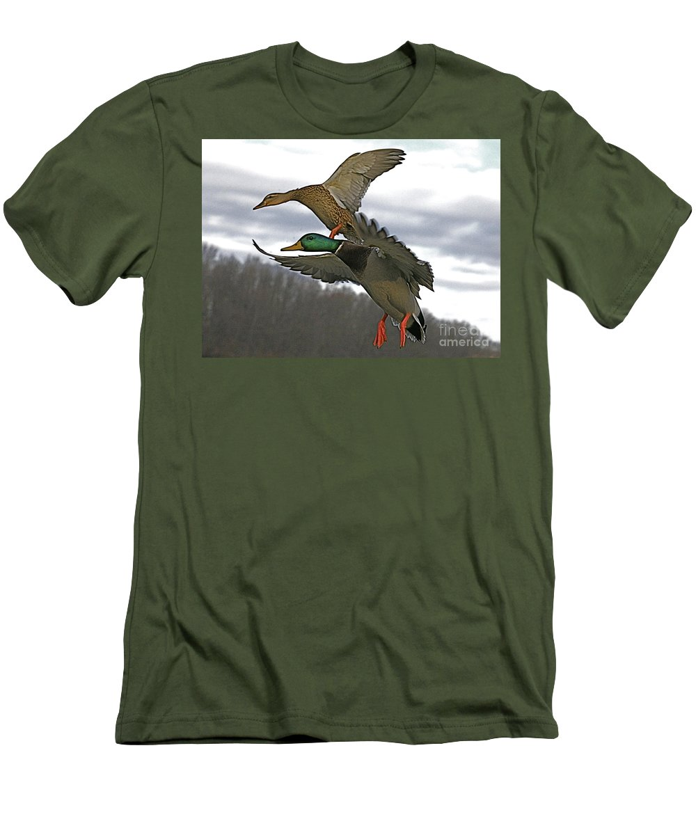 Duck Men's T-Shirt (Athletic Fit) featuring the photograph Two Land by Robert Pearson