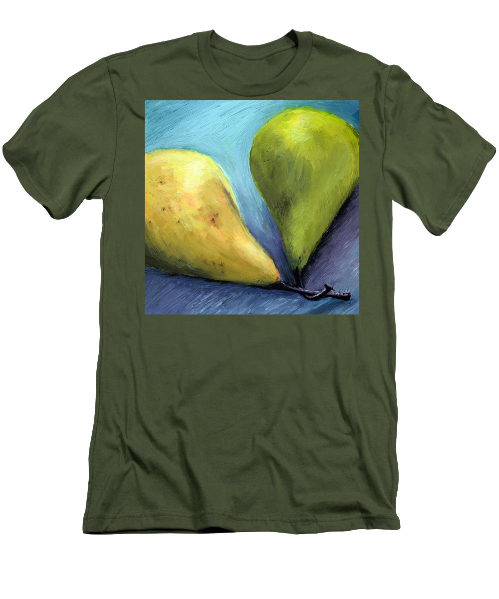 Pear Men's T-Shirt (Athletic Fit) featuring the painting Two Pears Still Life by Michelle Calkins