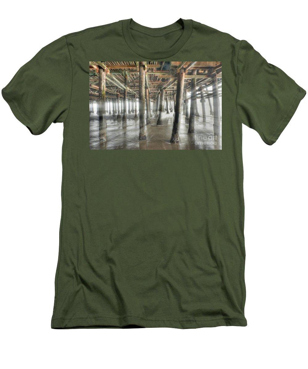 Under The Boardwalk Men's T-Shirt (Athletic Fit) featuring the photograph Under The Boardwalk Into The Light by David Zanzinger