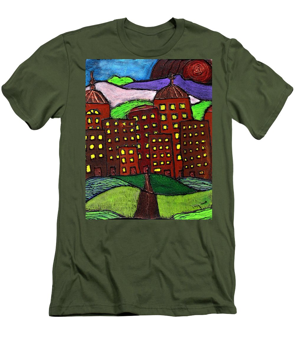 City Scape Men's T-Shirt (Athletic Fit) featuring the painting Urban Legand by Wayne Potrafka