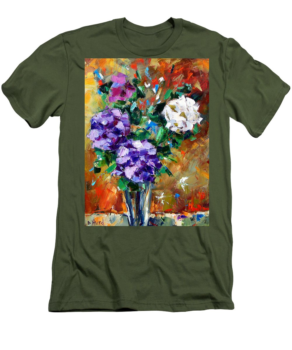 Flowers Men's T-Shirt (Athletic Fit) featuring the painting Vase Of Color by Debra Hurd