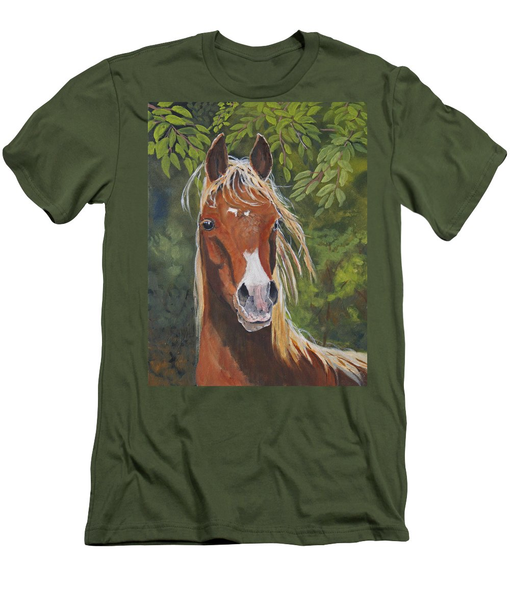 Horse Men's T-Shirt (Athletic Fit) featuring the painting Victory by Heather Coen