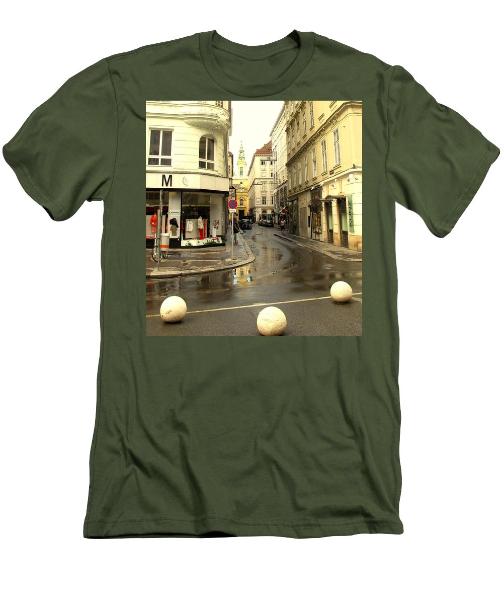 Vienna Men's T-Shirt (Athletic Fit) featuring the photograph Vienna Corner After The Rain by Ian MacDonald