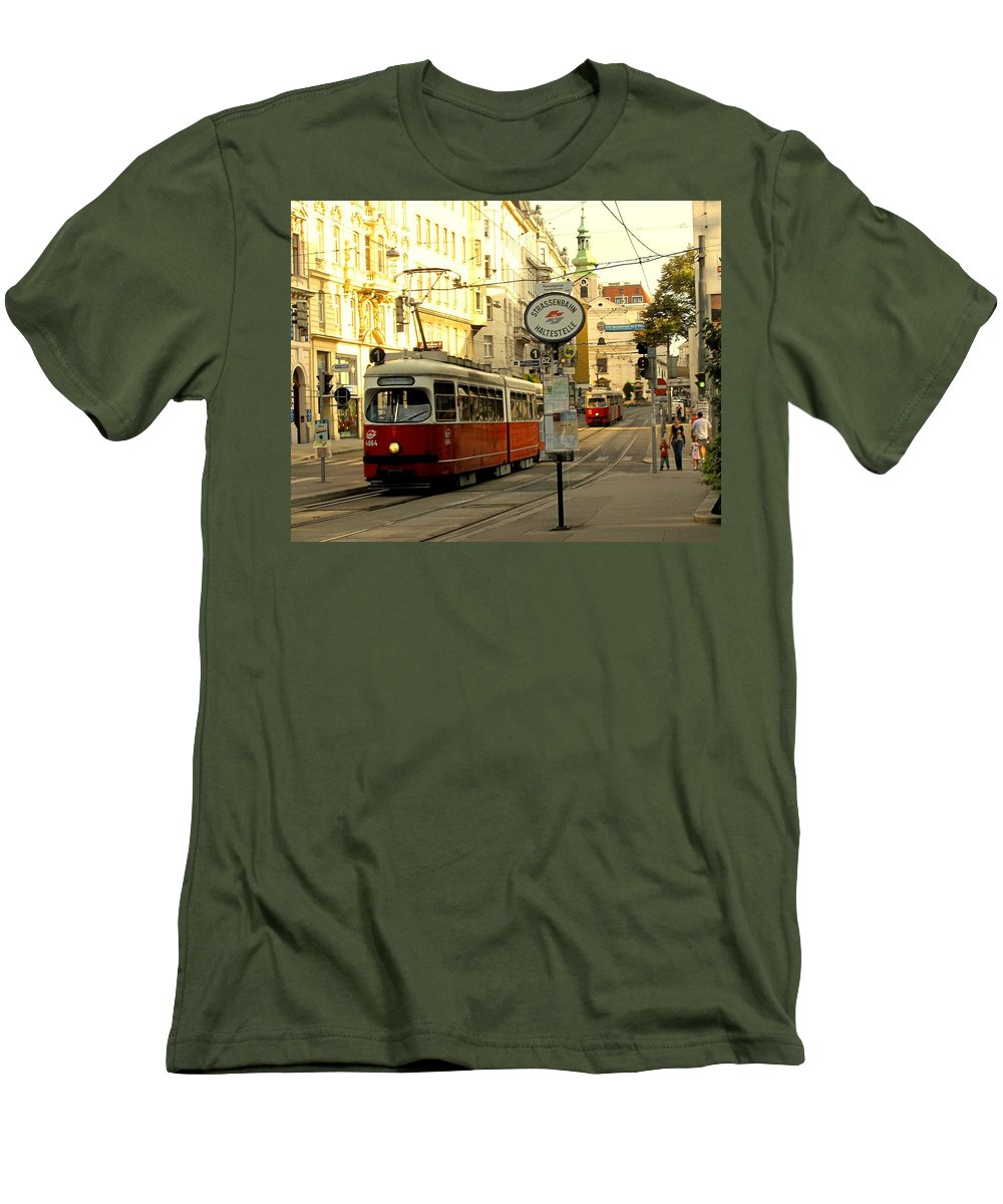 Streetcar Men's T-Shirt (Athletic Fit) featuring the photograph Vienna Streetcar by Ian MacDonald