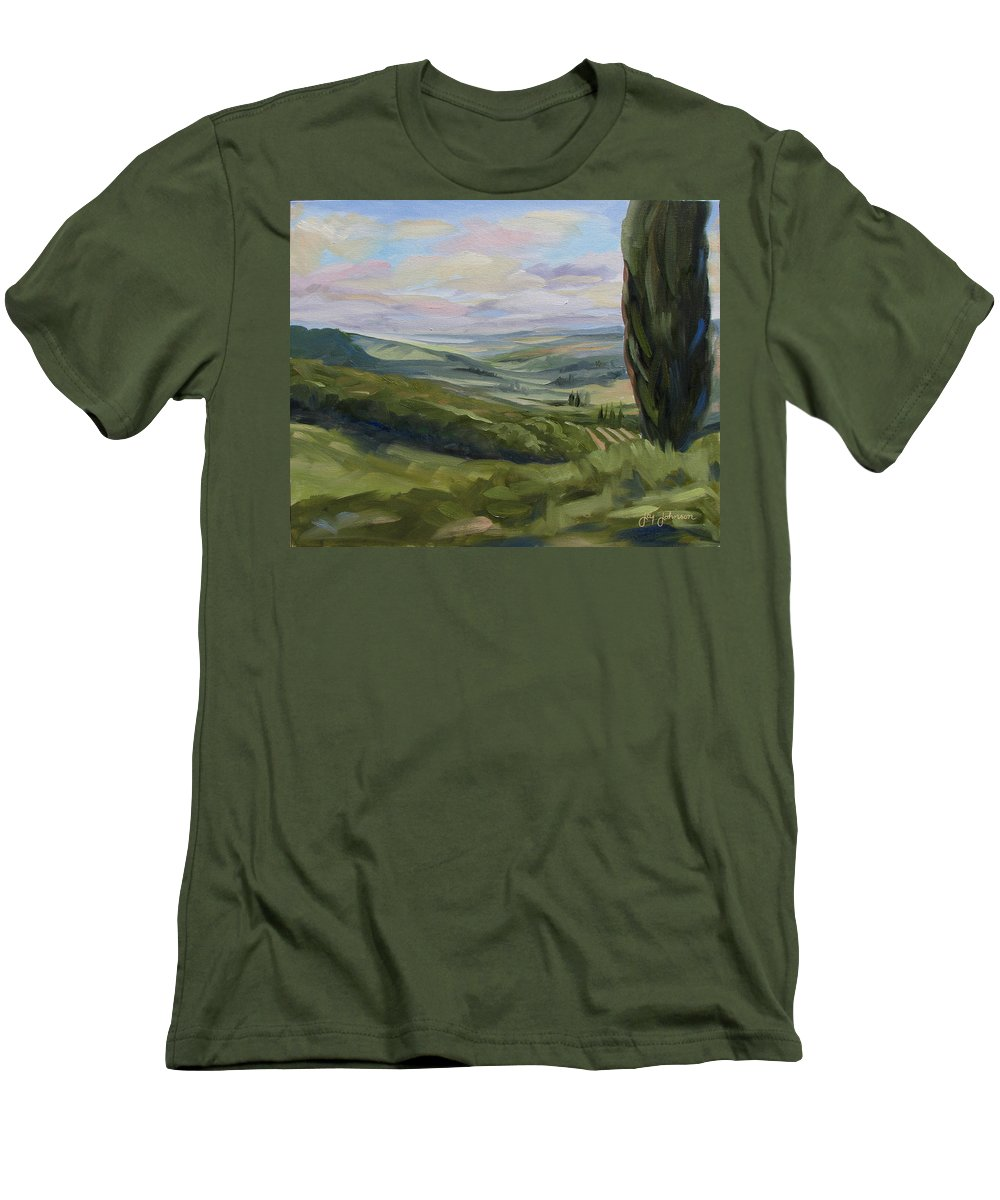 Landscape Men's T-Shirt (Athletic Fit) featuring the painting View From Sienna by Jay Johnson