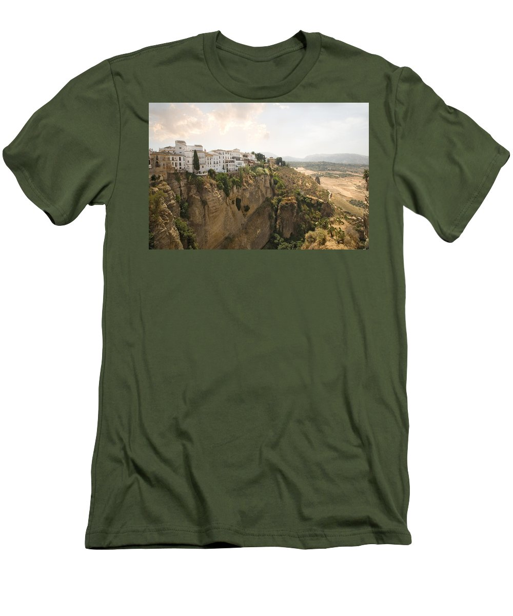 Ronda Men's T-Shirt (Athletic Fit) featuring the photograph View Over The Tajo Gorge Ronda Home Of Bullfighting by Mal Bray