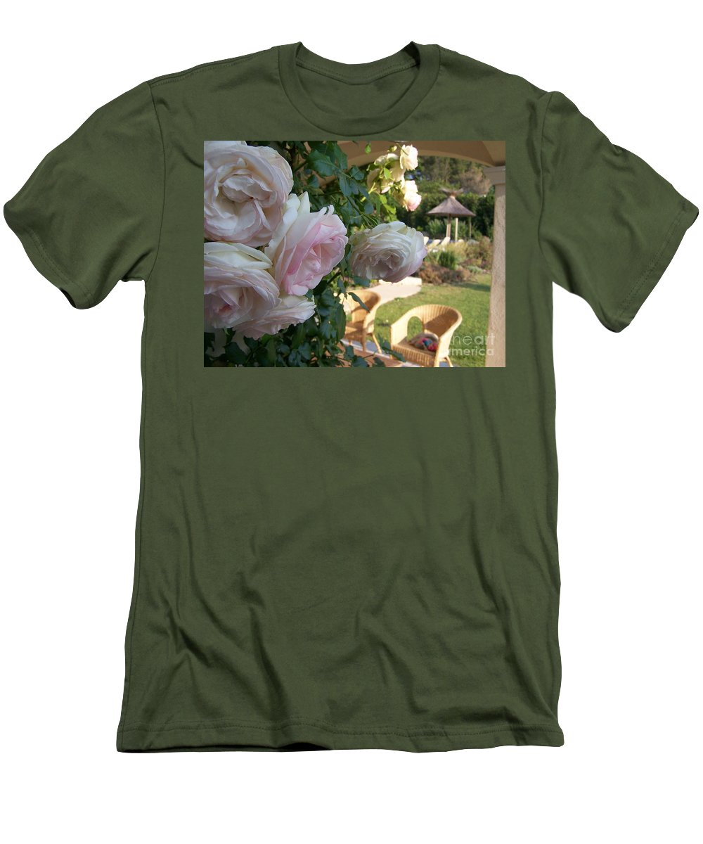 Roses Men's T-Shirt (Athletic Fit) featuring the photograph Villa Roses by Nadine Rippelmeyer