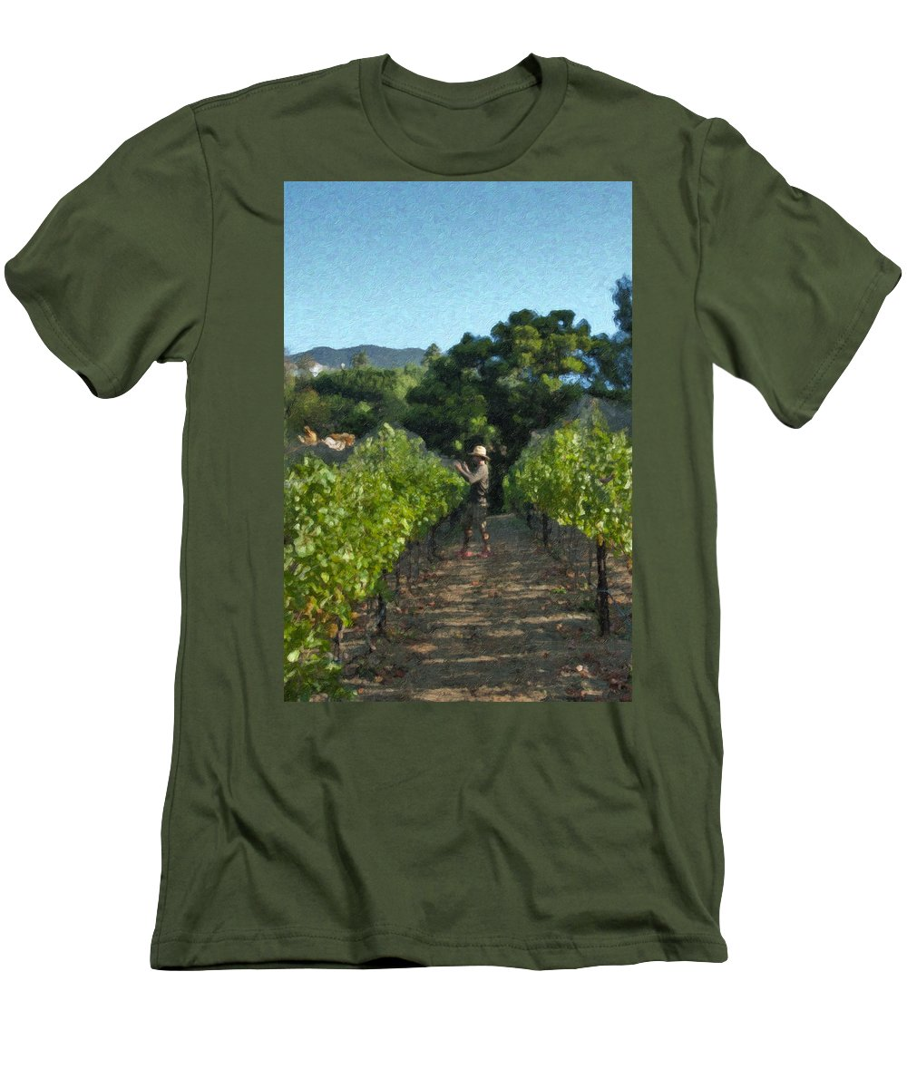 Rows Men's T-Shirt (Athletic Fit) featuring the photograph Vineyard Sauvignon Blanc Grapes by David Zanzinger