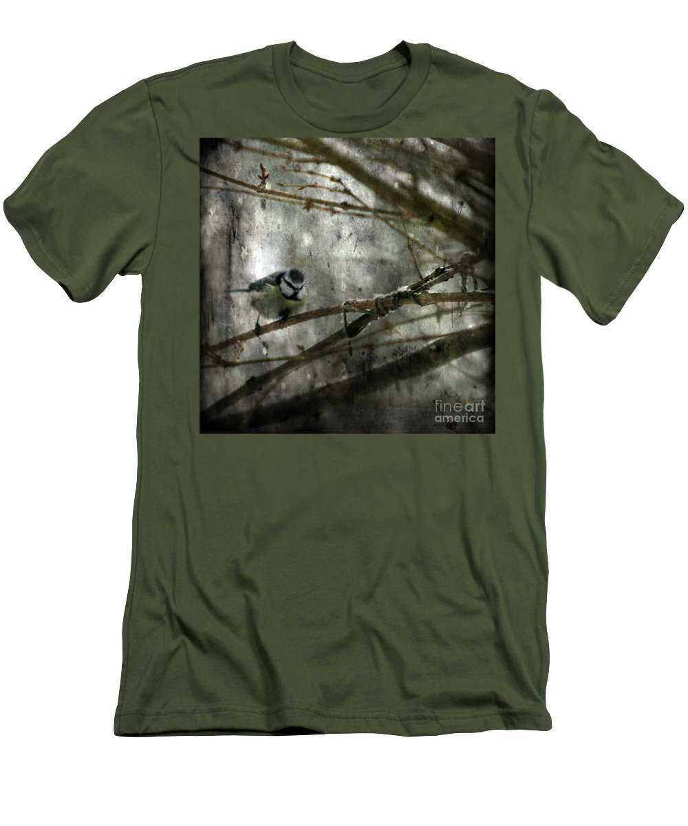 Blue Tit Men's T-Shirt (Athletic Fit) featuring the photograph Waiting For Springtime by Angel Tarantella