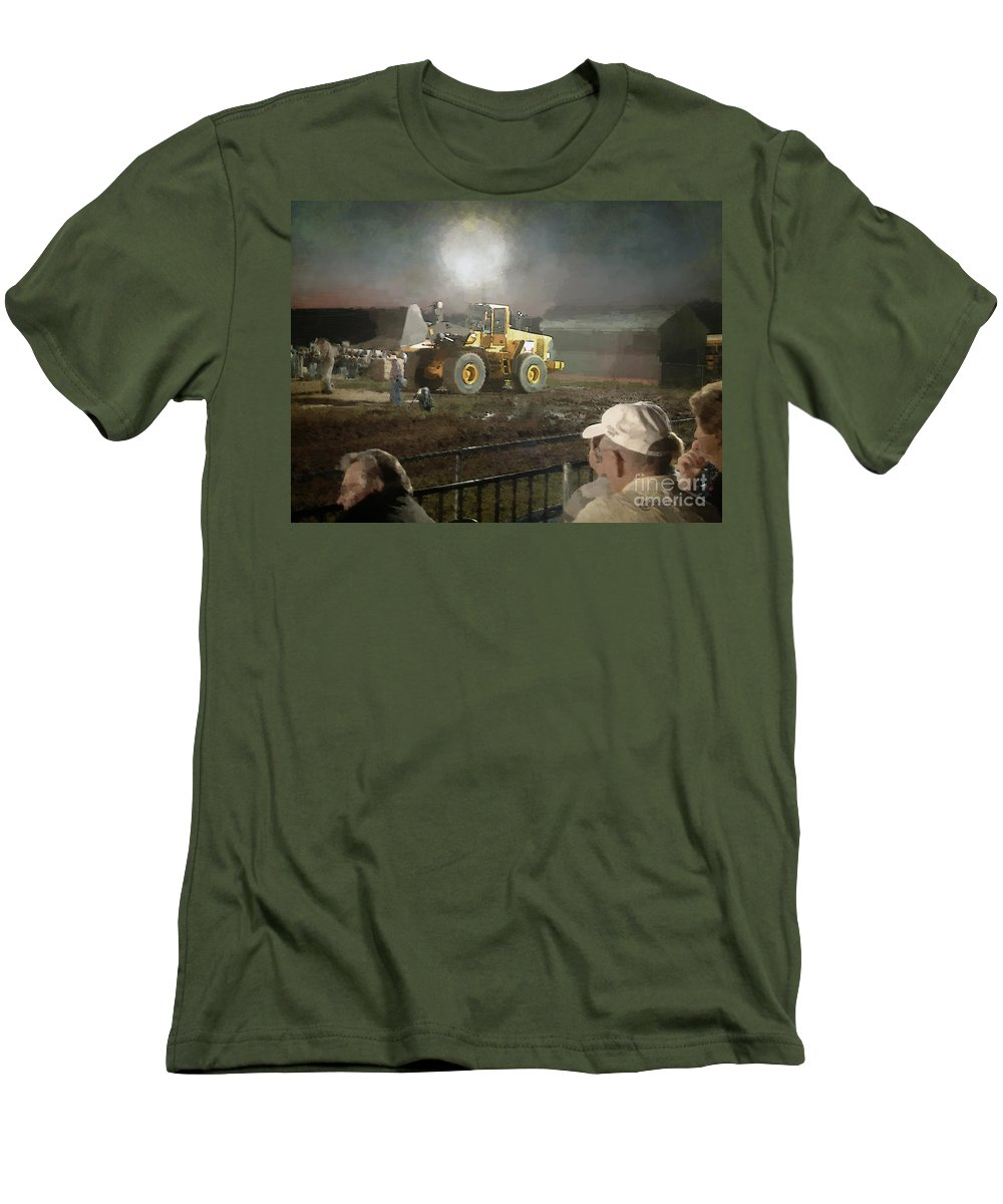 Americana Men's T-Shirt (Athletic Fit) featuring the painting Waiting For The Pull by RC DeWinter