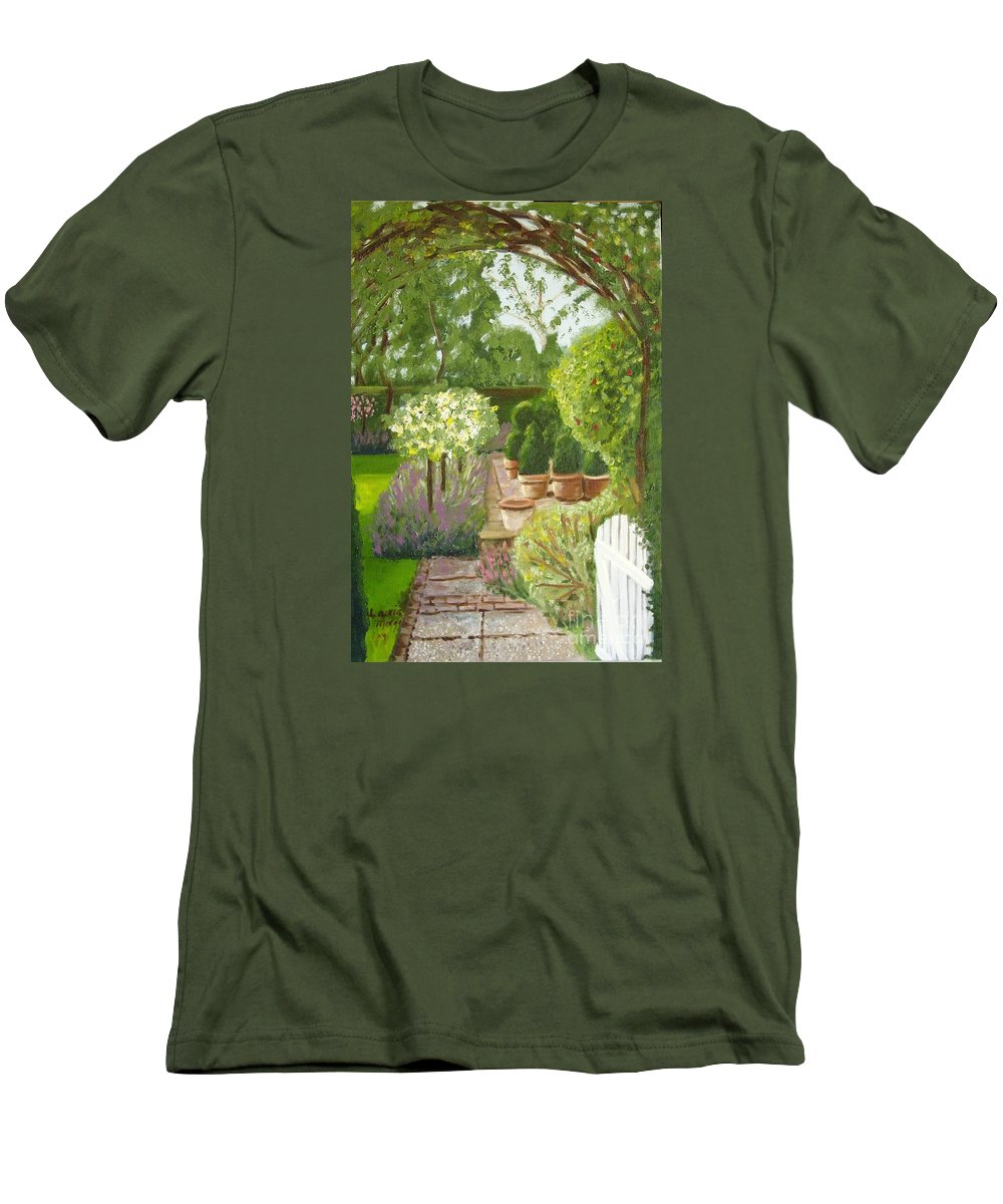 Garden Men's T-Shirt (Athletic Fit) featuring the painting Walk With Me by Laurie Morgan