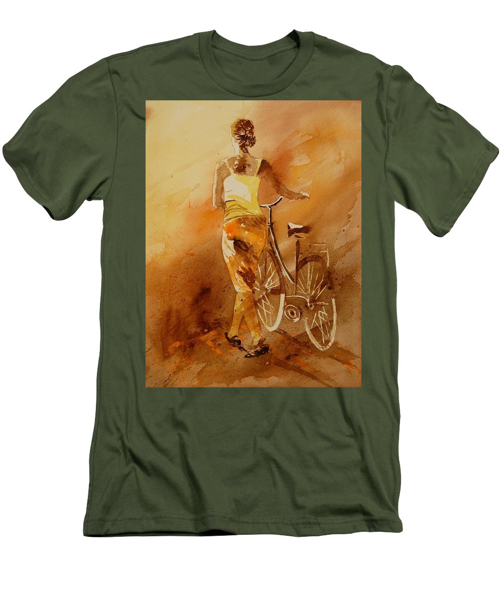 Girl Men's T-Shirt (Athletic Fit) featuring the painting Watercolor 060108 by Pol Ledent