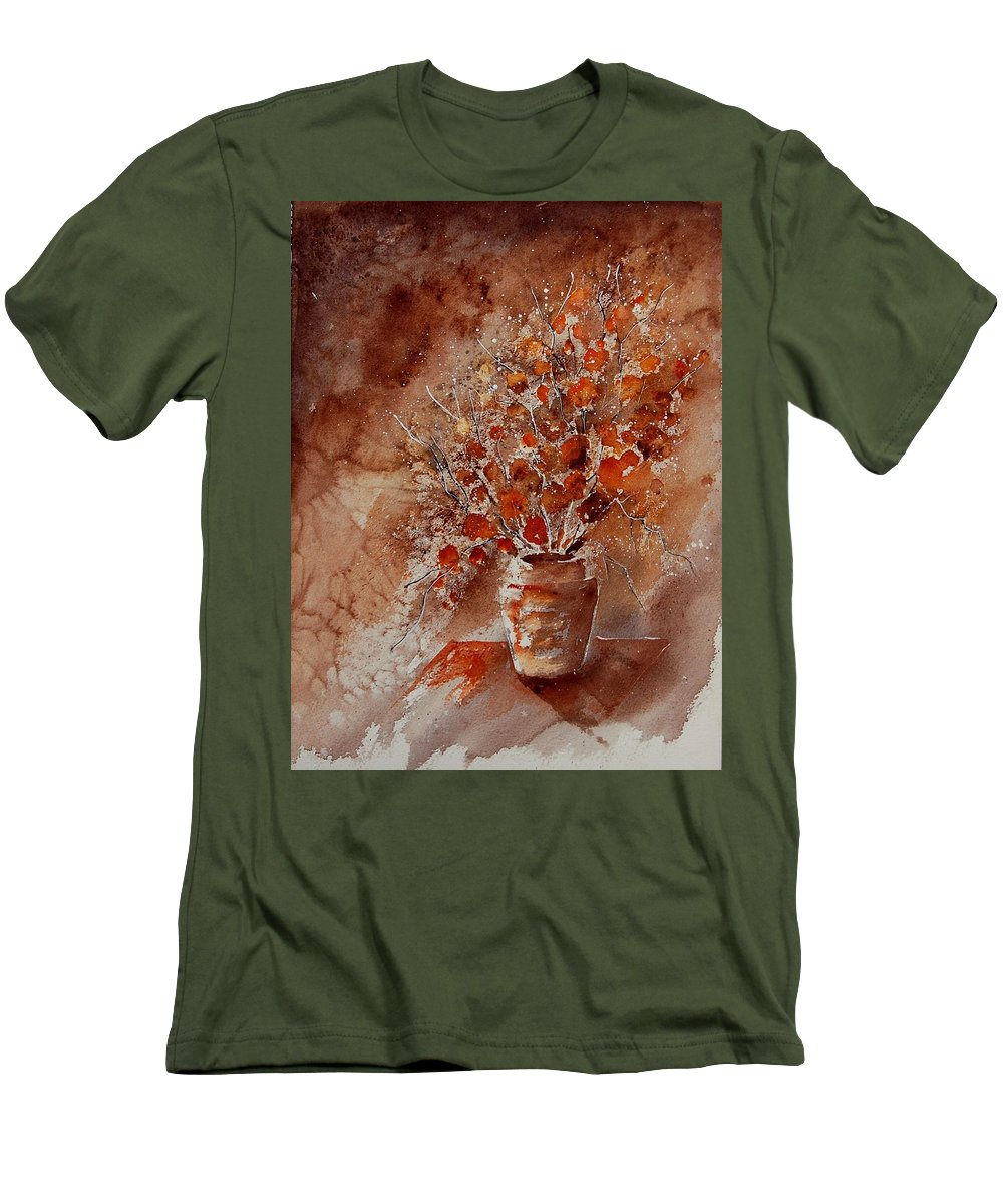 Poppies Men's T-Shirt (Athletic Fit) featuring the painting Watercolor Autumn Bunch by Pol Ledent