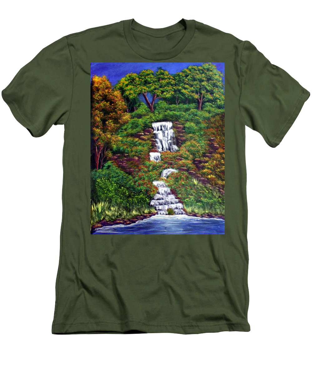 Waterfall Men's T-Shirt (Athletic Fit) featuring the painting Waterfall by Dawn Blair