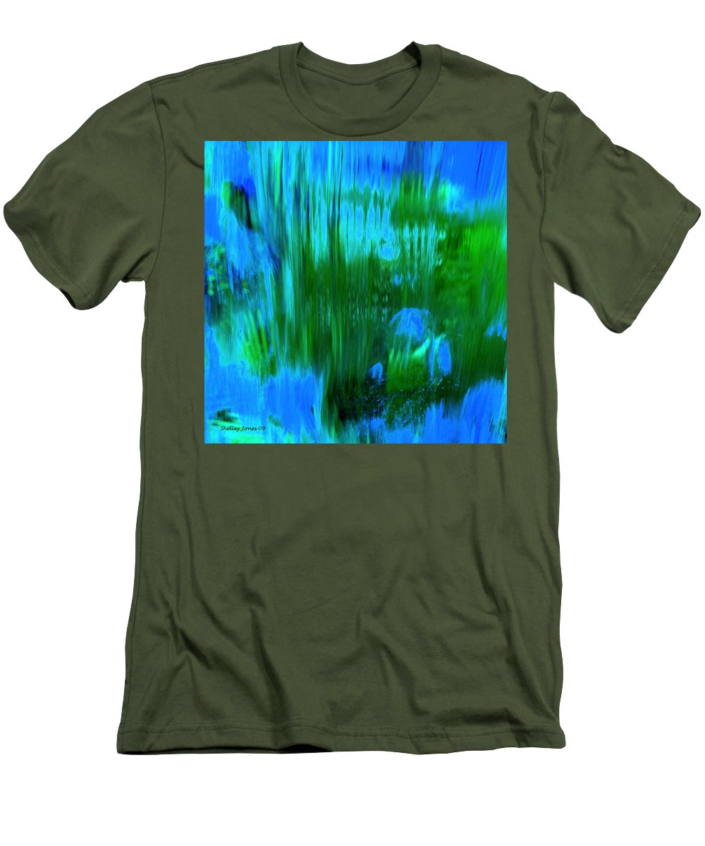 Digital Art Men's T-Shirt (Athletic Fit) featuring the digital art Waterfall by Shelley Jones