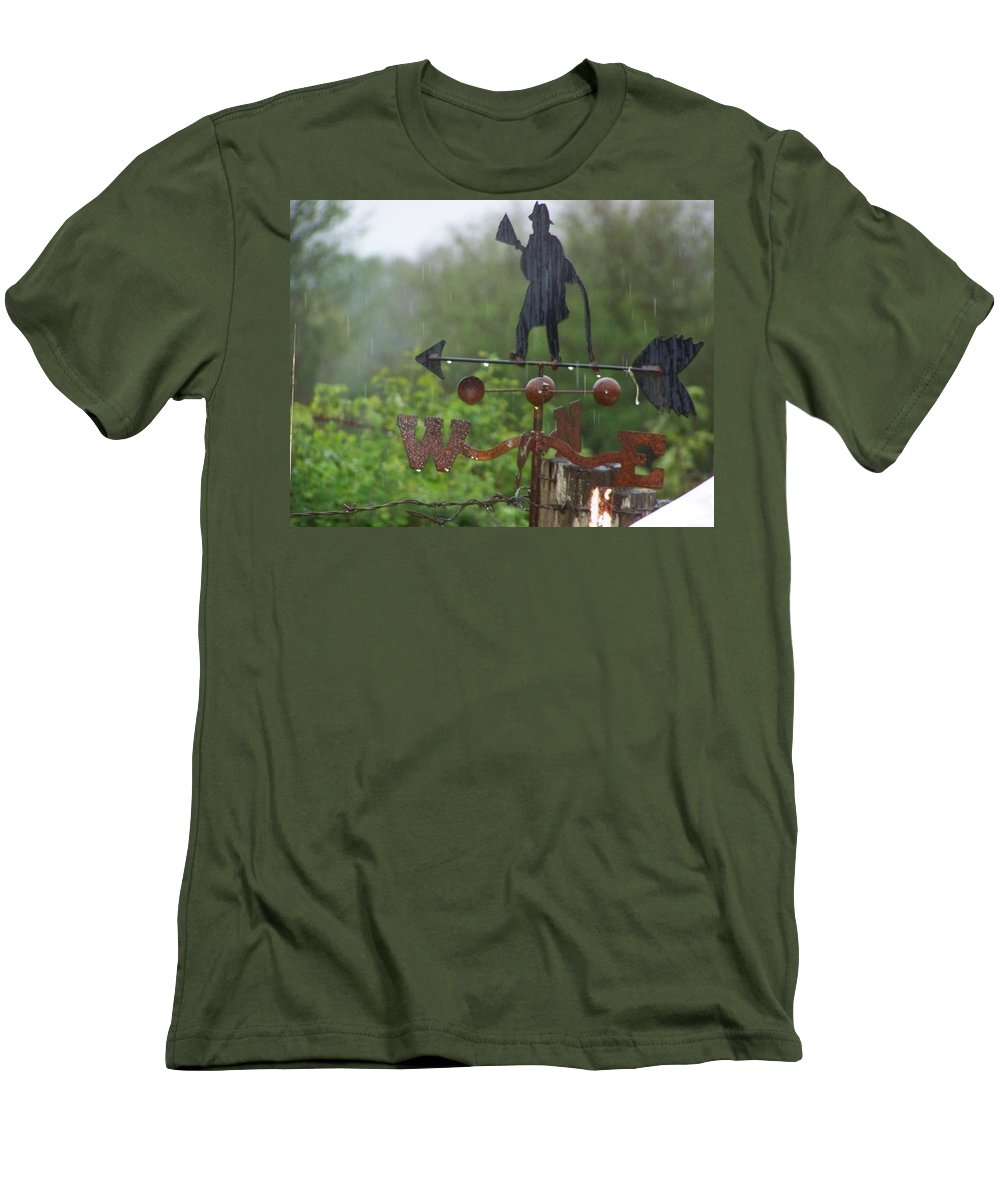 Digital Photography Men's T-Shirt (Athletic Fit) featuring the photograph Weather Vane In The Rain by Laurie Kidd