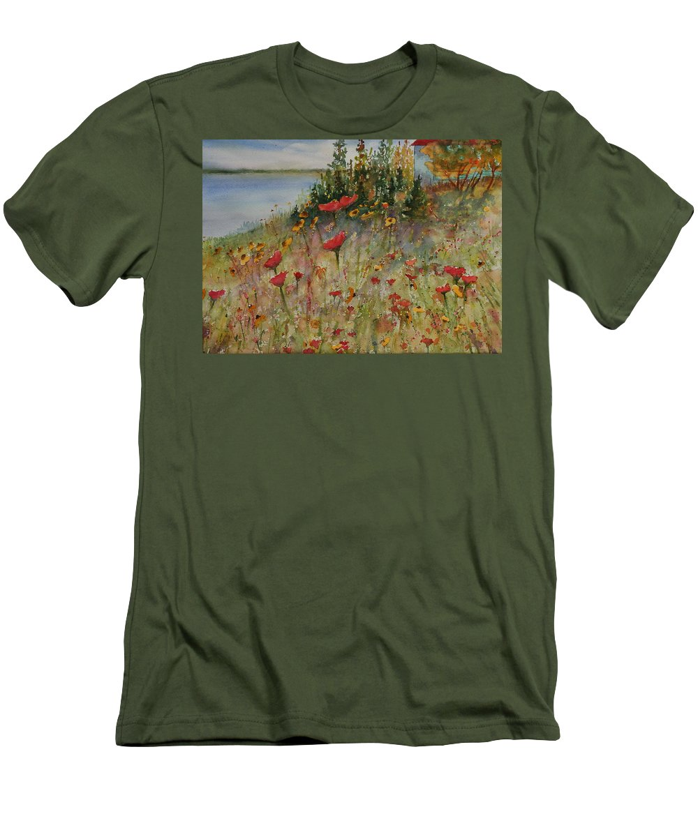 Nature Men's T-Shirt (Athletic Fit) featuring the painting Wendy's Wildflowers by Ruth Kamenev