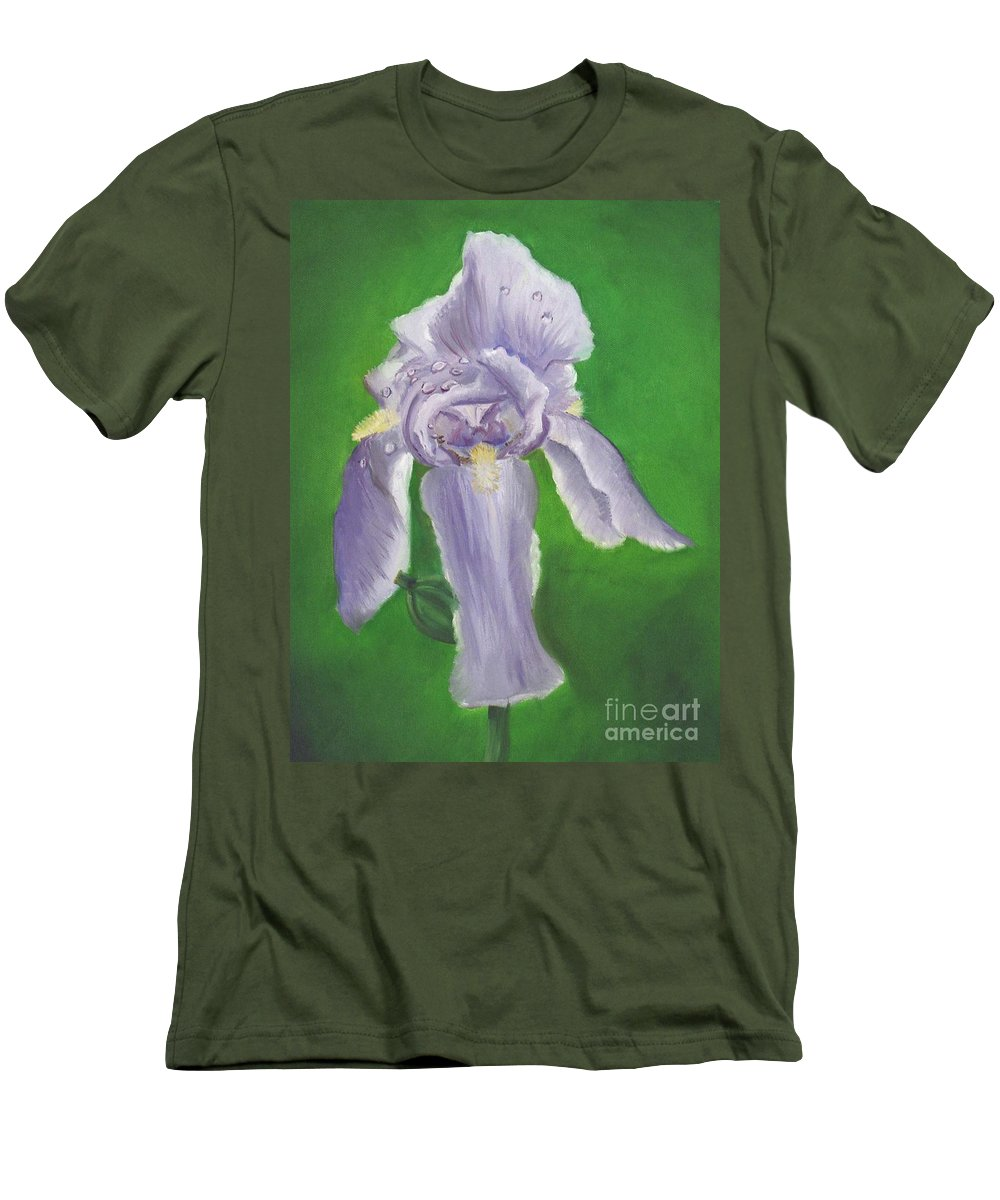 Iris Men's T-Shirt (Athletic Fit) featuring the painting Wet Iris by Mendy Pedersen