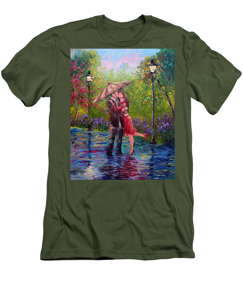 Kiss Men's T-Shirt (Athletic Fit) featuring the painting Wet Kiss by David G Paul