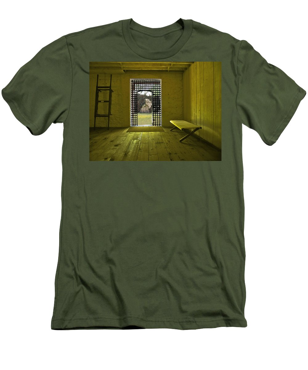 Jail Men's T-Shirt (Athletic Fit) featuring the photograph Whiskeytown Jail by Karen W Meyer