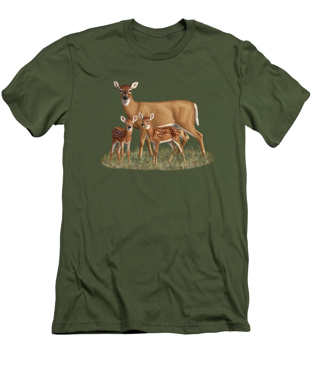 Whitetail Deer Men's T-Shirt (Athletic Fit) featuring the painting Whitetail Doe And Fawns - Mom's Little Spring Blossoms by Crista Forest