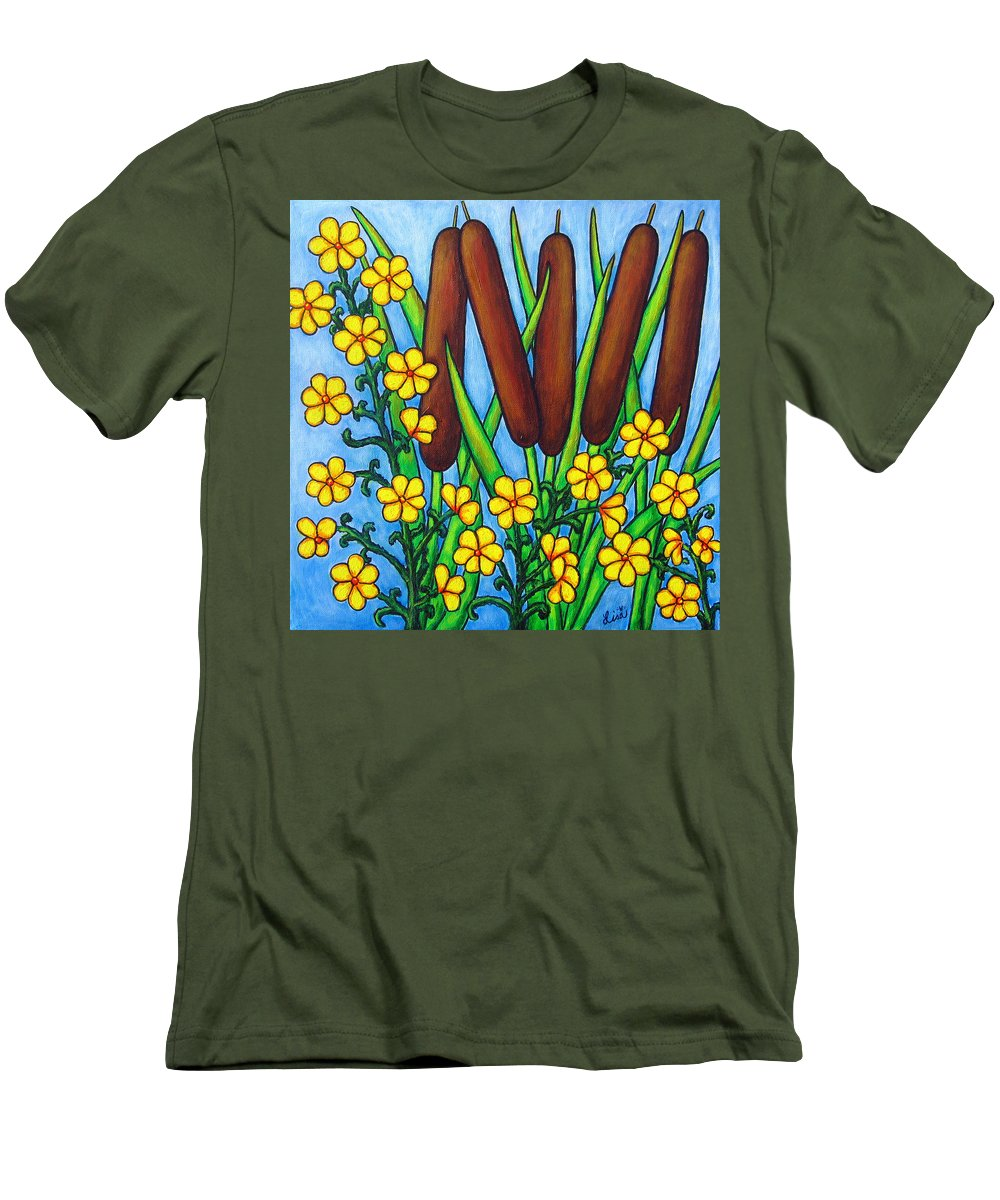 Cat Tails Men's T-Shirt (Athletic Fit) featuring the painting Wild Medley by Lisa Lorenz