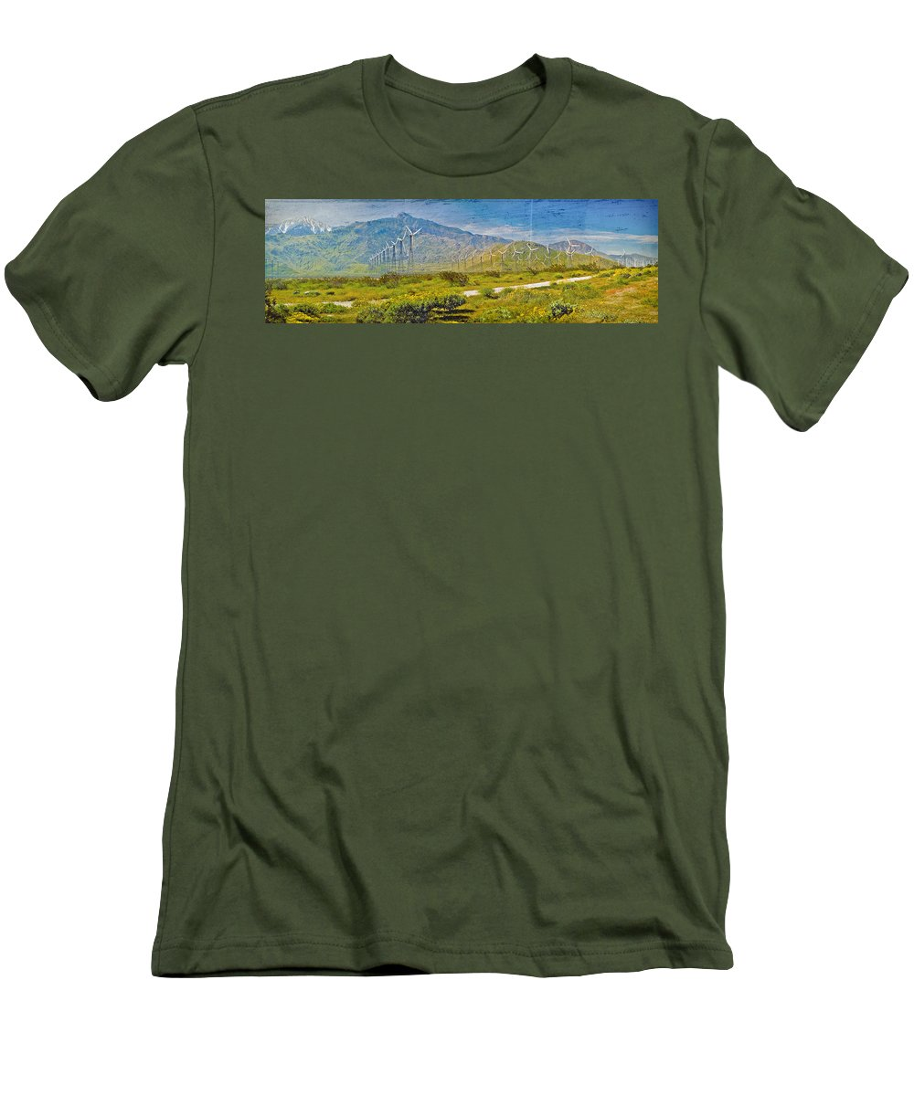 Wind Turbine Farm Palm Springs Ca Men's T-Shirt (Athletic Fit) featuring the photograph Wind Turbine Farm Palm Springs Ca by David Zanzinger