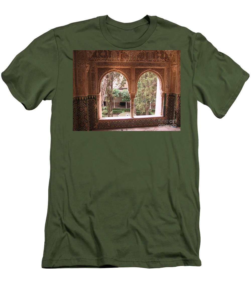 Window Men's T-Shirt (Athletic Fit) featuring the photograph Window In La Alhambra by Thomas Marchessault