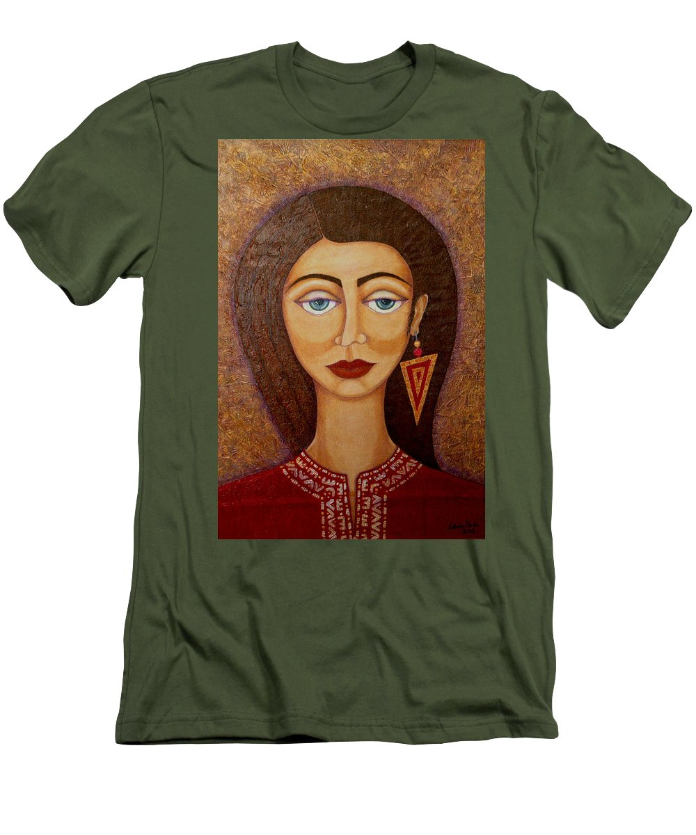 Market Men's T-Shirt (Athletic Fit) featuring the painting Woman S Market by Madalena Lobao-Tello