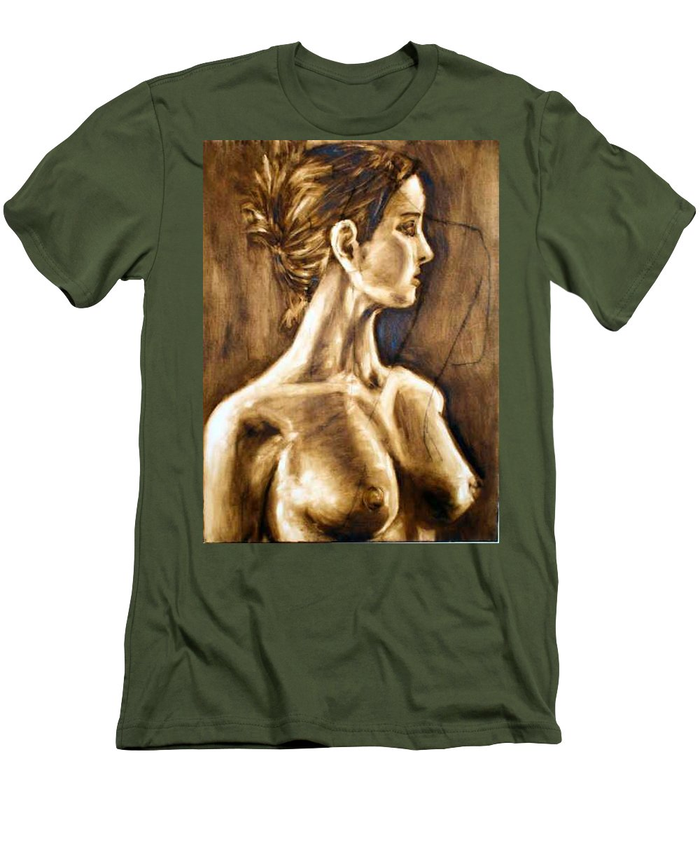 Men's T-Shirt (Athletic Fit) featuring the painting Woman by Thomas Valentine
