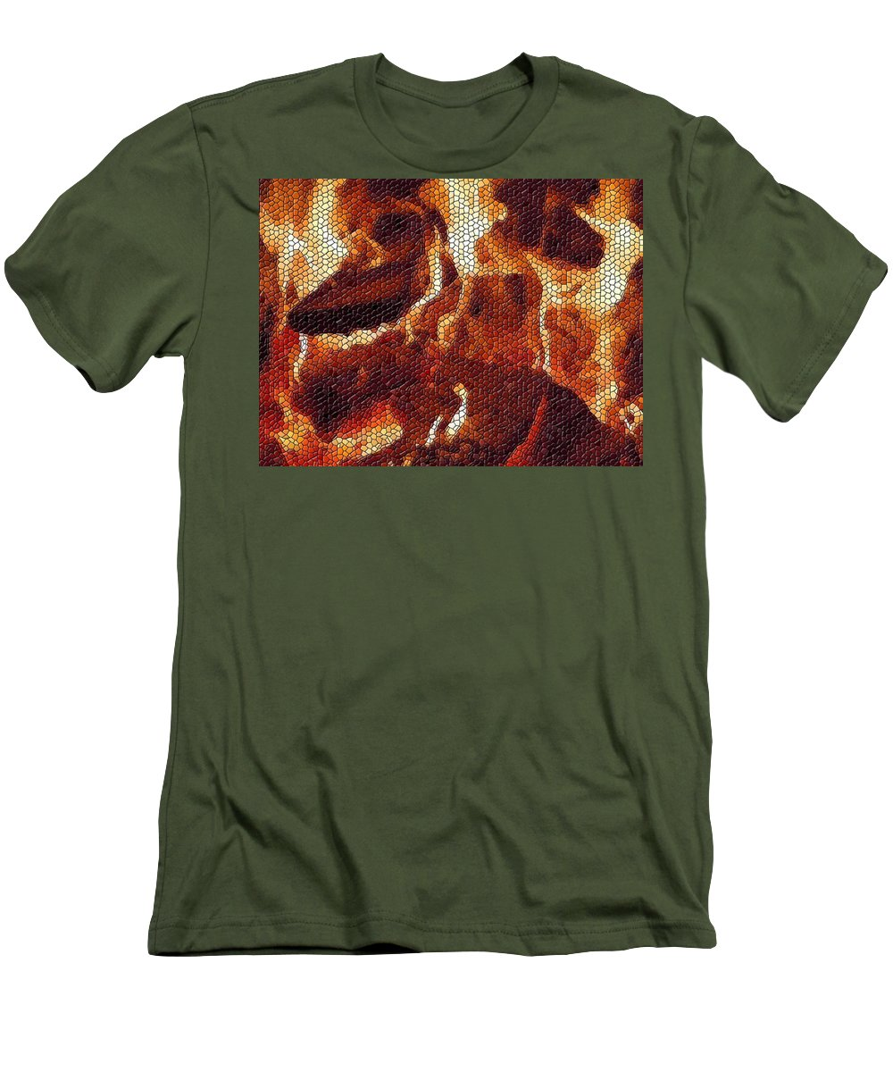 Wood Men's T-Shirt (Athletic Fit) featuring the digital art Wood Fire Mosaic by Tim Allen